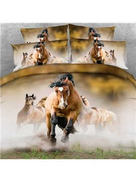 Lifelike 3D Running Horses Printed Fitted Sheet