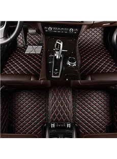 Cool And Fantastic Black And Red Mixed Grid Design All Surrounded Type Custom-Made Leather Car Carpet