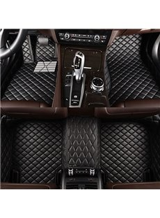 Popular Business Black Grid Style Not Stuck Brake Pedal Custom-Made Leather Car Carpet