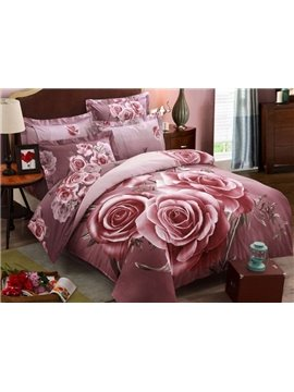 Unique 3D Charming Rose Printed 4-Piece 100% Cotton Duvet Cover Sets