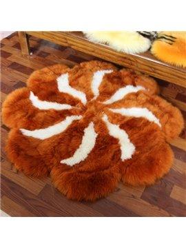 Luxury Warm Round Flower Petal Shape Soft Atificial Fur Decorative Area Rug