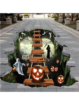 Unique Design Pumpkin and Ladder above a Hole Pattern Halloween Decorative 3D Floor Stickers