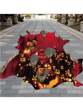 Amusing Halloween Decorative Pumpkin on the Stone above Volcano 3D Floor Stickers