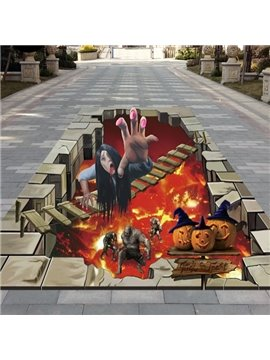 Lifelike Ghost and Pumpkin Pattern Halloween Decorative 3D Floor Stickers