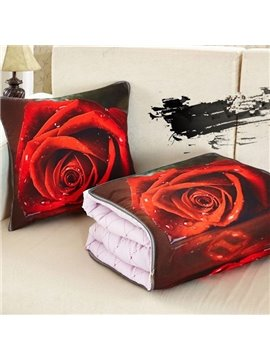 Charming 3d Red Rose Printed Throw Pillow