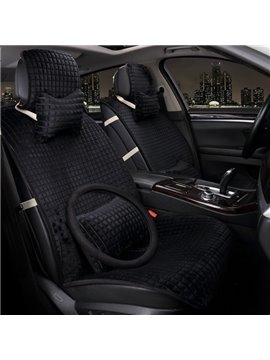 Classic Check Pattern Bright Pure Color Warm Short Plush Material Universal Car Seat Cover
