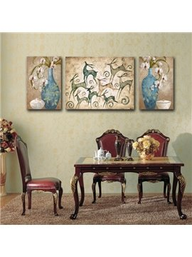 Classic Decorative Flower Vase and Deer Pattern Canvas Stretched None Framed Wall Art Prints