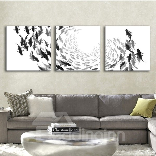 White Simple Square with Black Fishes Pattern 3 Pieces Framed Wall Art Prints