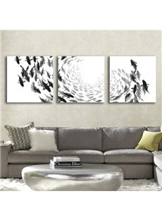 White Simple Square with Black Fishes Pattern 3 Pieces None Framed Wall Art Prints