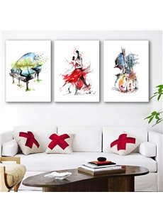 White Simple Romantic Dancing Couples Piano and Guitar Pattern 3 Pieces None Framed Wall Art Prints