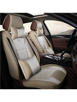 High Cost-Effective Luxury Real Leather With Flax Mixed Popular Universal Car Seat Cover