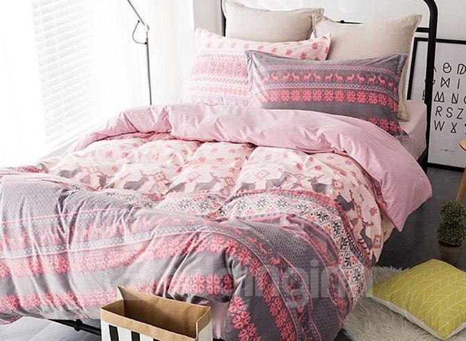 Elegant Christmas Reindeer Print Pink 4-Piece Flannel Duvet Cover ...