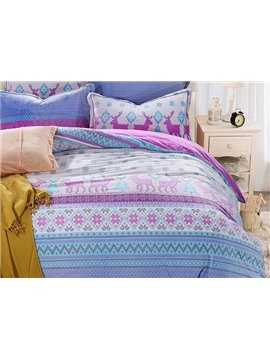 Likable Reindeer Print 4-Piece Flannel Duvet Cover Sets