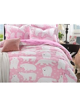 Lovely Bear Print Pink 4-Piece Flannel Duvet Cover Sets