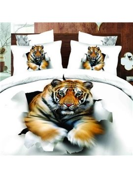 Vivid Tiger Break into the Wall Print 2-Piece Pillow Cases