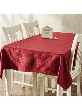 Pure Color Polyester Rectangle for Dining Room Decoration Washable Tablecloth