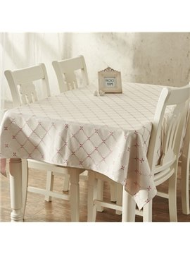 Home Essentials Rectangle Flower Plaid Pattern Washable Decorative Tablecloth