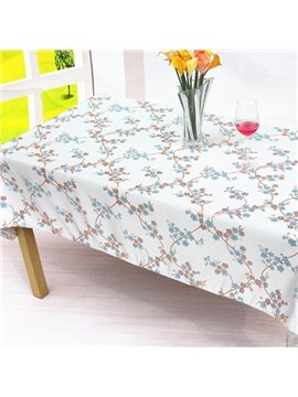 Fresh Cotton Rectangle Plum Blossom Machine Washable Home Decorative Tablecloth