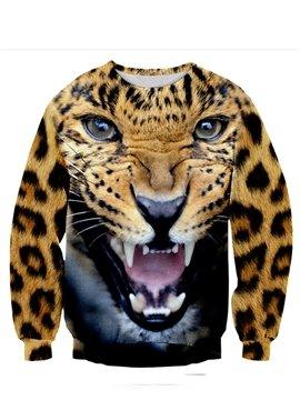 Vivid Long Sleeve Leopard Pattern 3D Painted Hoodie