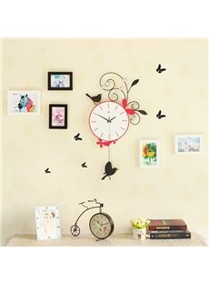 Silent Iron with 5 Pieces Photo Frames Bird Decoration Battery Wall Clock