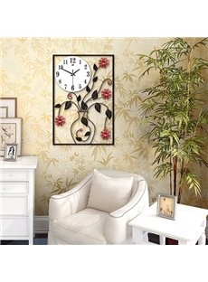 Classic Rectangle Iron Flower Vase Decoration Battery Mute Wall Clock