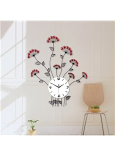 Simple Style Iron Red Flowers with Artificial Diamonds Decoration Wall Clock