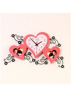 Pink Heart Shape with Photo Frame Decoration Decorative Silent Wall Clock