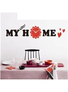Warm Rectangle with Acrylic My Home Stickers Battery Mute Wall Clock