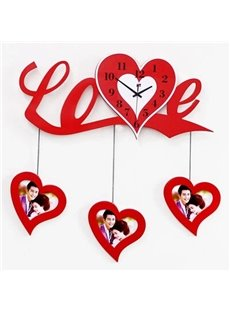 Romantic Love Heart Shaped with Photo Frame Decorative Wall Clock