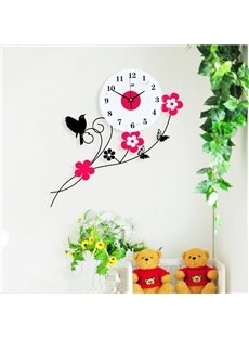 Country Style Iron Bird Standing on Flower Branch Design Mute Wall Clock
