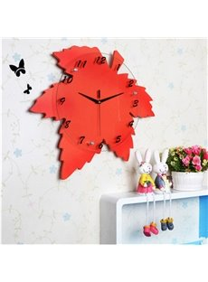 Modern Creative Maple Leaf Shape Mute Home Decorative Wall Clock