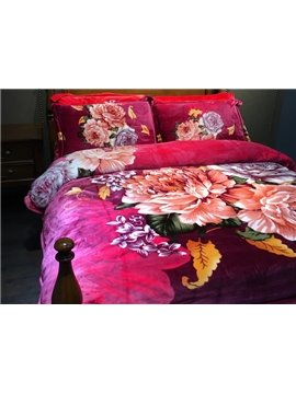 Elegant Peony Print Festive Red 4-Piece Flannel Duvet Cover Sets