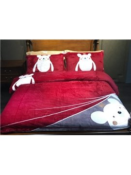 Pretty Cute Cartoon Bear Print 4-Piece Flannel Duvet Cover Sets
