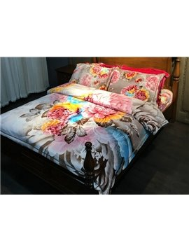 Amazing Peony Print 4-Piece Flannel Duvet Cover Sets