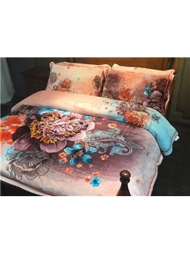Exotic Style Paisley and Peony Print 4-Piece Flannel Duvet Cover Sets