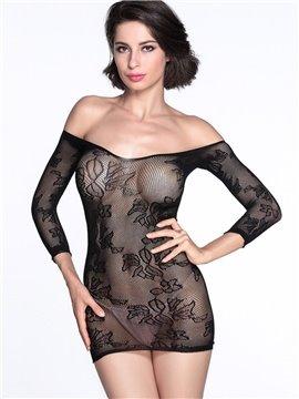 Short Shoulders Backless Black Hollowed Sexy Floral Pattern Chemises