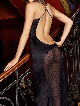Unique Long Black Shirt Style Design Sexy Open Back Hollowed Buttocks Chemises