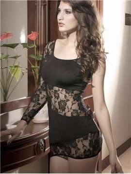 Black Single Shoulder Lace Mini Dress Features Stylish One-Sleeve Design And Plunging Square Neckline Chemises