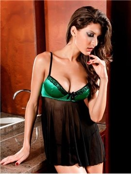 Bright Green Cups Design With Sexy Thong G-String 2-Pairs Chemises