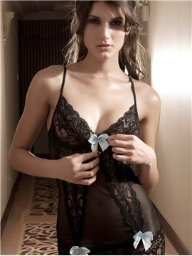 Charming Black Hollow Lace With Sexy White Bow Decorate Chemises