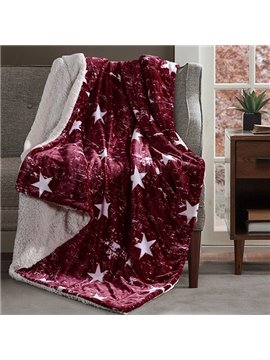 Concise Star Print Burgundy Soft Flannel Blanket