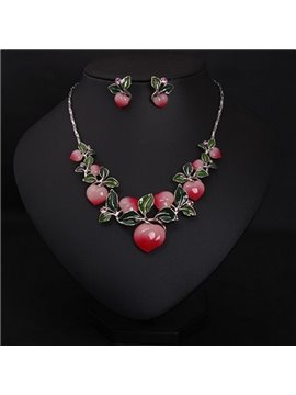 Pretty Peach Shape Alloy Statement Necklace and Earrings Group