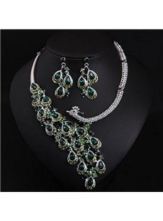 Sparking Crystal Peacock Design Statement Necklace and Earrings Group