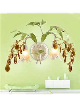 Creative Design Iron Frame with Crystal and Leaves Decoration Country Style Pendant Light