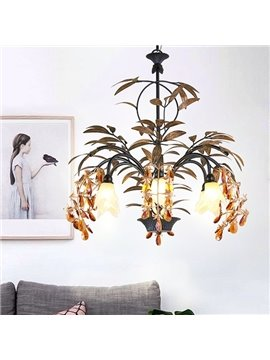 American Style Iron Frame with Crystal Decoration Tree Branch Shape 6 Bulbs Pendant Light