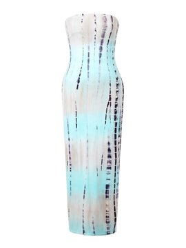 Fabulous Strapless Floor Length Gradient Print Dress