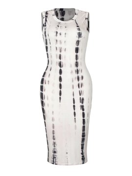 Charming Sleeveless Round Neck Printed Bodycon Dress