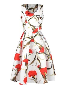 Attractive Sleeveless V Neck Flower Pattern White 3D Painted Dress