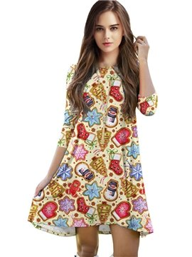 Stunning Loose Casual Christmas Style Pattern 3D Painted Shift Dress
