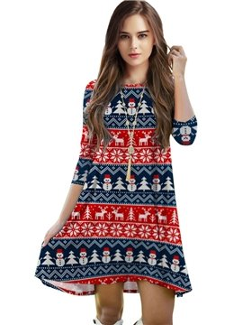 Christmas Style Loose Casual Snowmans Pattern 3D Painted Dress
